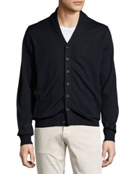Neiman Marcus Shawl Collar Button Front Sweater Dark Midni