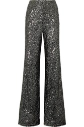 Alice Olivia Dylan Sequined Tulle Wide Leg Pants Anthracite