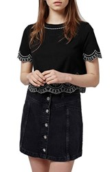 Petite Women's Topshop Embroidered Crop Tee Black Multi