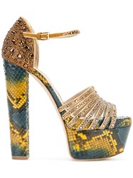 Elie Saab Embellished Snake Print Platform Sandals Leather Brass Metallic