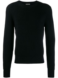 Tom Ford Crew Neck Knitted Sweater Black