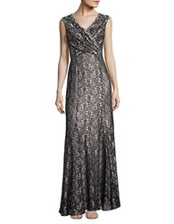 Tahari By Arthur S. Levine Scalloped Floral Lace Gown Black Silver