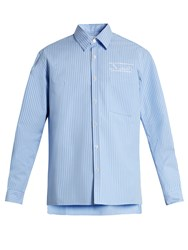 Martine Rose Striped Bonded Cotton Shirt Light Blue