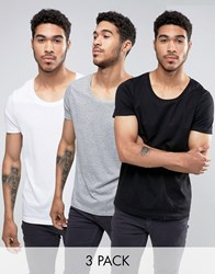 Asos 3 Pack T Shirt With Scoop Neck In White Black Grey White Black Grey Mar Multi