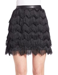 Sam Edelman Fiona Tiered Fringe Feather And Leatherette Skirt