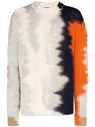 Jil Sander Destroy Patch Embroidered Crew Neck Jumper Multicolour