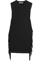 Mcq By Alexander Mcqueen Faux Suede Fringed Cotton Jersey Mini Dress Black