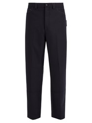 Lanvin Contrast Stitch Wool Trousers Navy