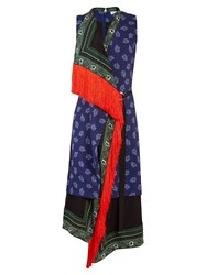 Altuzarra Bina Sleeveless Scarf Print Stretch Cady Dress Blue Multi
