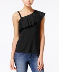 Almost Famous Juniors' Ruffled One Shoulder Top Black