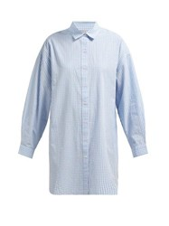 Mes Demoiselles Checked Oversized Cotton Shirt Blue White