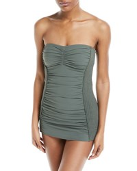 Carmen Marc Valvo Waterfall Solids Smocked Bandeau Swimdress Green