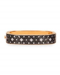 Roberto Coin Rock And Diamond 18K Rose Gold And Black Diamond Bangle