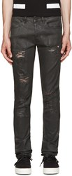 Off White Black Distressed Coated Jeans