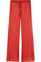 Balmain Silk Georgette Wide Leg Pants