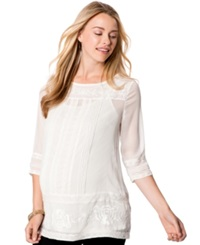 Wendy Bellissimo Maternity Lace Trim Embroidered Blouse Cream
