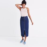 Madewell Denim Zip Front Midi Skirt Margaret Wash