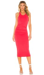 Michael Stars Racer Back Midi Dress In Red. Teaberry
