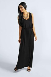 Boohoo Bagged Over Racer Back Maxi Dress Black