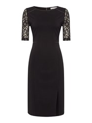 Pied A Terre Lace Detail Ponte Dress Black