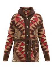 Rrl Ranch Hand Knitted Linen Blend Cardigan Brown Multi