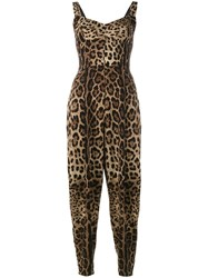 Dolce And Gabbana Leopard Print Jumpsuit Brown