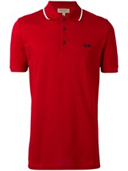 Burberry Short Sleeve Polo Shirt Men Cotton S Red