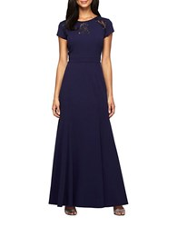 Alex Evenings Short Sleeve A Line Gown Navy