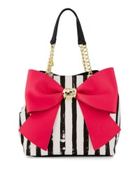 Betsey Johnson Bow And Arrow Striped Tote Bag Fuchsia