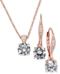 Danori Rose Gold Tone Cubic Zirconia Solitaire Pendant Necklace And Matching Drop Earrings Set Created For Macy's