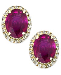 Macy's Ruby And White Sapphire Oval Stud Earrings In 14K Gold 3 Ct. T.W.