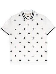 Gucci Cotton Polo With Bees And Stars Men Cotton Spandex Elastane S White