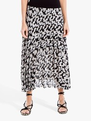 Max Studio Floral Print Pleated Skirt Black Blue