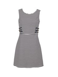 Morgan Nautical A Line Dress With Cut Out Rear Navy