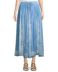 Chelsea And Theodore Border Print Crinkled Maxi Skirt Blue