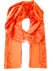 Barbara Bui Letter Print Scarf Yellow And Orange