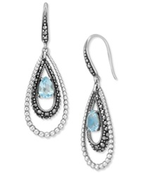 Genevieve And Grace Sterling Silver Earrings Blue Topaz 1 5 8 Ct. T.W. And Marcasite Teardrop Earrings