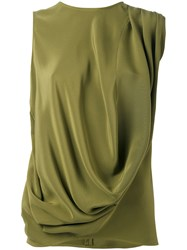 Gianluca Capannolo Draped Tank Top Women Silk 44 Green