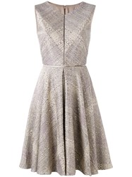 Talbot Runhof Sequin Embellished Dress Women Cotton Polyester Acetate Polyacrylic 34 Nude Neutrals