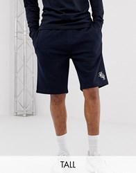 French Connection Tall Script Logo Jersey Shorts Navy