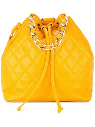 Chanel Vintage Cc Chain Backpack Hand Bag Yellow And Orange