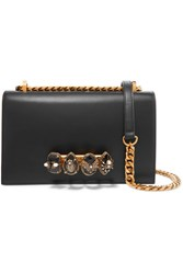Alexander Mcqueen Jewelled Satchel Embellished Leather Shoulder Bag Black