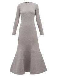 Vika Gazinskaya Trumpet Hem Cotton Blend Midi Dress Grey