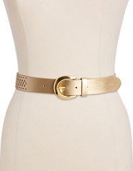 Lauren Ralph Lauren Perforated Belt Champagne