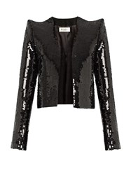 Saint Laurent Sequin Embellished Cropped Jacket Black