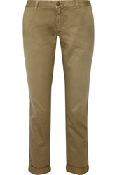 Current Elliott The Buddy Cotton Twill Tapered Pants Army Green