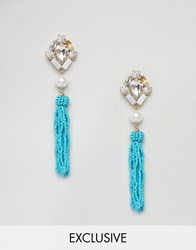 Liars And Lovers Seedbead Pearl Statement Earrings Turquoise Blue