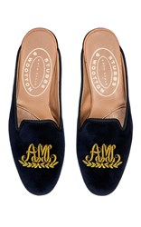 Stubbs And Wootton Script Gold Wreath M'onogrammed Hand Embroidered Mule Navy