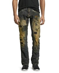 Prps Upheaval Ripped And Patched Slim Straight Jeans Indigo