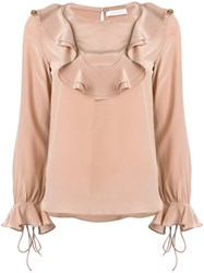 See By Chloe Frill Embroidered Blouse Women Silk 34 Nude Neutrals